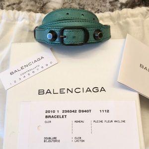 Auth Balenciaga Classic Leather Wrap Bracelet M